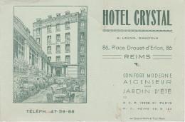 Visitenkarte Carte De Visite ? Reims Hotel Crystal Place Drouet D´ Erlon 86 Werbung Reclame Publicite France Frankreich - Visitenkarten