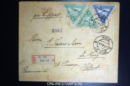 Latvija Lettland Registered Airmail Cover Riga To The Hague Holland 1921  Mi 75A + 76 A - Lithuania