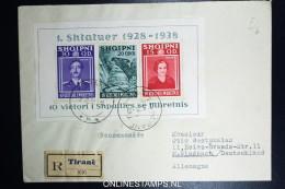 Albania Registered Cover Tirana To M. Gladbach   Mi Block 3  278 B - 283 B  RRR - Albanien