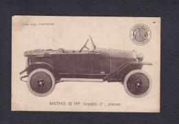 Carte Publicitaire Automobiles Mathis - Voiture Mathis 10 HP Torpedo 3 1/2 Places Usine à Strasbourg - Voitures De Tourisme