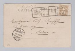 Heimat Schweiz VD CULLY 1905-06-02 Aushilfsstempel Auf Ansichtskarte Nach Bern - 1882-1906 Armoiries, Helvetia Debout & UPU