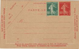 Entier Carte Lettre Semeuse 40c Vermillon . (627) Neuve Complément D'affranchissement . - Entiers Postaux