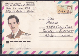 CUBA, Airmail From Cuba To India, 1 Stamp, Jose De Jesus, Mario Martinez Arara - Cuba
