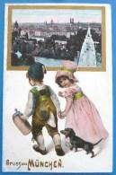 Litho Chromo Relief Illustrateur GRUSS AUS MÜNCHEN FILLETTE FILLE GARCON CHOPE BIERE PHOTO VILLE Chien Basset Teckel - Saluti Da.../ Gruss Aus...
