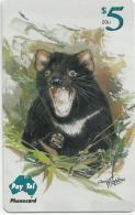 AUSTRALIA $5 PAY-TEL TASMANIAN DEVIL ANIMAL 1500 ONLY SHIP USED ONLY !! MINT READ DESCRIPTION - Australie