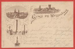 67 - GRUSS Aus  WEISSENBURG - WISSEMBOURG - Litho Précurseur 1895 - Vorläufer - Monuments Guerre 1870 - 3 Scans - Wissembourg