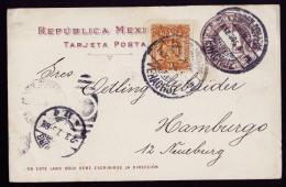A4062) Mexico Uprated Postcard From Veracruz 02/12/1907 To Hamburg / Germany - Mexiko
