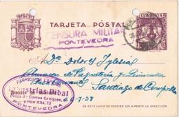 18686. Entero Postal PONTEVEDRA 1938. CENSURA Militar, Guerra Civil, Reyes Catolicos - Stamped Stationery