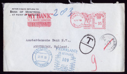 A4067) Canada Bank Cover From Hamilton 04/01/55 To Amsterdam / Netherlands With Taxe