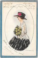 Cpa Illustrée Signée ?  - Jolie Jeune Femme Au Chapeau Et Bouquet De Roses Jaunes - Unclassified