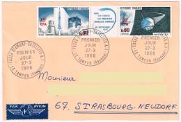Fusée Diamant Satellite A1 Le Tampon Réunion 27.3.1966 Premier Jour  Tryptique Surchargé CFA - Telecom