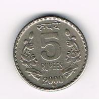 °°° INDIA  5 RUPEES  2000 - Inde
