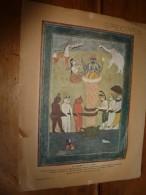 SPECIMEN Miniature Hindoue Ancienne :Le Barattement De La Mer (support Et Image D'origine) Dim.hors-tout = 32cm X 25cm - Non Classés
