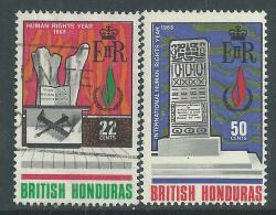Honduras Britannique N° 215 O + 216 X Année Internationale Des Droits De L'homme Les 2 Vals X Et O Sinon TB - British Honduras (...-1970)