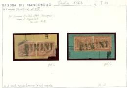 I. REGNO - 2 COPPIE T 15  RARO ANNULLO RIMINI STAMPATELLO - NON QUOTATO - RARO - 2 C. ROSSO - SU PICCOLO FRAMMENTO - 1861-78 Vittorio Emanuele II