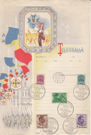 GREAT UNION, PARADE, TELEGRAMME, ROYAL CROWN, KING CHARLES II STAMPS, VISSZATERT ROUND POSTMARKS, 1940, HUNGARY-ROMANIA - Télégraphes