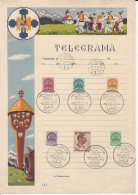 FOLKLORE, TELEGRAMME, ROYAL CROWN, KING CHARLES II STAMPS, VISSZATERT ROUND POSTMARKS, 1940, HUNGARY-ROMANIA - Télégraphes