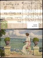 109558,Künstler Ak Paul Fischer Erwartungsvoll Frau Tennis Tennisschläger I. Arm Blic - Tennis