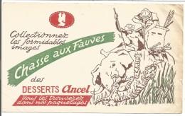 BUVARD DESSERTS ANCEL CHASSE AUX FAUVES  ELEPHANT TIGRE - Blotters