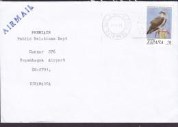 Spain AIRMAIL Line Cds. S. CRUZ TENERIFE 1999 Cover Letra Denmark Bird Vogel Oiseau Fauna Peligro Extincion - 1991-00 Briefe U. Dokumente