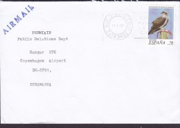 Spain AIRMAIL Line Cds. S. CRUZ TENERIFE 1999 Cover Letra Denmark Bird Vogel Oiseau Fauna Peligro Extincion - 1931-Heute: 2. Rep. - ... Juan Carlos I