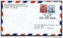 PAN AMERICAN FIRST CLIPPER FLIGHT PRAGUE-LONDON 1946 (A) - Czechoslovakia