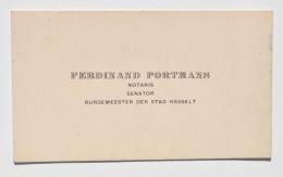 Carte De Visite De / Visitekaartje Van FERDINAND PORTMANS, Bourgmestre / Burgemeester Der Stad HASSELT (1895-1937) - Cartes De Visite