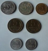 LOTE DE SIETE MONEDAS RUSAS DE 5 RUBLOS Y 5 KOPEKS - Rusia