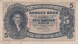 BILLETE DE NORUEGA DE 5 KRONER DEL AÑO 1941  (BANKNOTE) - Noruega