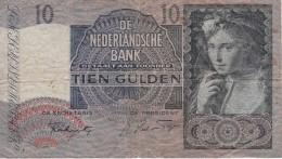 BILLETE DE HOLANDA DE 10 GULDEN DEL AÑO 1941  (BANKNOTE) - 10 Florín Holandés (gulden)