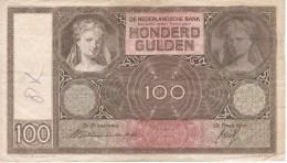 BILLETE DE HOLANDA DE 100 GULDEN DEL AÑO 1939  (BANKNOTE) - 100 Florín Holandés (gulden)