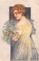 """04641 """"RITRATTO FEMMINILE"""" LIBERTY - GIOVANE RAGAZZA, FIORI. FIRMATA PITTORE F. VECCHI 1861-1938  CART  NON SPED - Moda"""