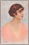 """04642 """"RITRATTO FEMMINILE"""" LIBERTY - ZONA DI GUERRA - FIRMATA PITTORE M. BERTINELLI 1880-1953.  CART  SPED 1918 - Moda"""