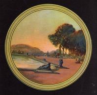 JOLI CHROMO ANCIEN ROND PAYSAGE BASSIN JOLIES COULEURS  Photos R/V - Chromos