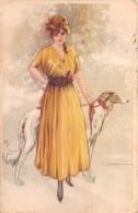 """04643 """"RITRATTO FEMMINILE"""" GIOVANE SIGNORA CON CANE -  FIRMATA PITTORE T. CORBELLA 1885-1966.  CART  SPED 1920 - Moda"""