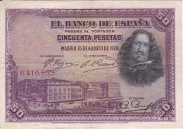 BILLETE DE ESPAÑA DE 50 PTAS DEL AÑO 1928 SIN SERIE  (BANKNOTE) RARO - [ 1] …-1931 : Primeros Billetes (Banco De España)