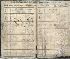 TRES RARE DOCUMENT - Carnet De Paie D'un Mineur - Charleroi - Charbonnage Sacré Madame - Année 1924 - Documents Historiques