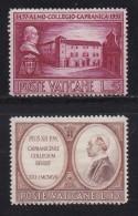 VATICAN, 1957, Unused Hinged Stamp(s), Seminar Capramica,  Mi 270=273, #4191, 2 Values Only - Vatican