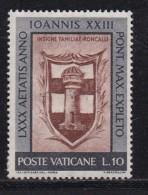 VATICAN, 1961, Unused  Mint Never Hinged Stamp(s), Pope Johannes XXIII,  Mi 382, #4215, 1 Value  Only - Vatican