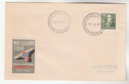 1947 SWEDEN OREBRO EXHIBITION EVENT COVER With 1947 OREBRO Mot Ljusare Ttider Jubileumsutstall Ningen EXHIB. LABEL Stamp - Sweden