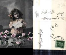 145596,Post Mädchen M. Briefkuvert Brief Korb Rosen Blumen - Post & Briefboten