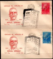CUBA 1949 - Two First Day Covers With Manuel Sanguily Garritte Set - Cuba