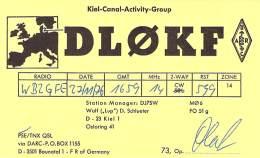 Amateur Radio QSL Card - DL0KF Kiel Canal Activity Group - Germany - 1976 - Radio Amateur