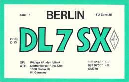 Amateur Radio QSL Card - DL7SX - Berlin, Germany - 1977 - 2 Scans - Radio Amateur