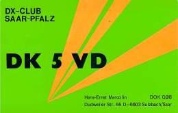 Amateur Radio QSL Card - DK5VD - Germany - 1976 - 2 Scans - Radio Amateur