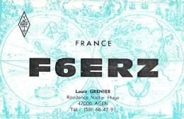Amateur Radio QSL Card - F6ERZ - Agen, France - 1977 - 2 Scans - Radio Amateur