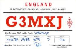 Amateur Radio QSL Card - G3MXJ - Uckfield, East Sussex ENGLAND - 1978 On 7MHz CW - Radio Amateur