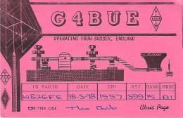 Amateur Radio QSL Card - G4BUE - Sussex, England - 1978 - 2 Scans - Radio Amateur