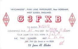 Amateur Radio QSL Card - G3FXB - West Sussex, England - 1978 (2 QSOs) - 2 Scans - Radio Amateur
