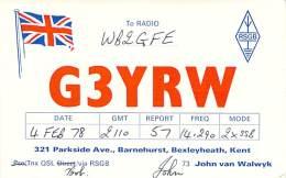 Amateur Radio QSL Card - G3YRW - Bexleyheath, Kent ENGLAND - 1978 - Radio Amateur